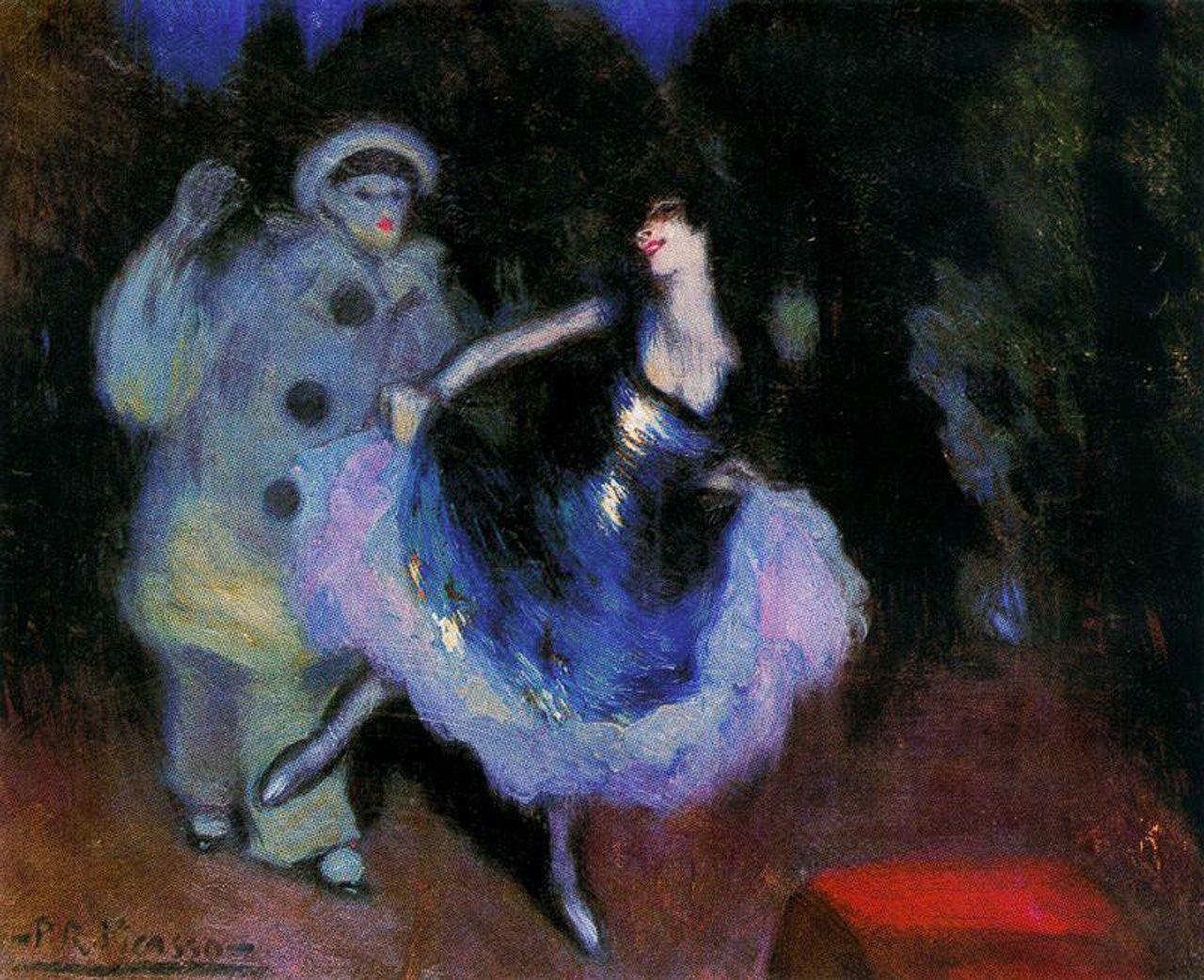 Pierrot et Colombine, peinture de Picasso